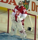 Petr Mrazek stands in his crease during the Stadium Series game in Denver.