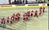 The Detroit Red Wings come onto the ice to celebrate their victory in the Stadium Series game in Denver.
