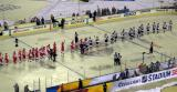 The Detroit Red Wings and Colorado Avalanche line up for post-game handshakes after the Stadium Series game in Denver.