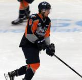 Samuel Duchesne skates with a puck during pre-game warmups before a Flint Firebirds home game in Saginaw.