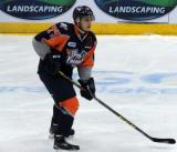 Zack PIttman skates in the neutral zone during a Flint Firebirds home game in Saginaw.