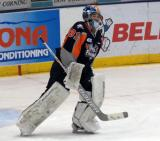 Brent Moran skates away from the crease after being pulled during a Flint Firebirds home game in Saginaw.