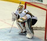 Brendan Burke of the London Knights gets set in his crease after entering a game against the Flint Firebirds in Saginaw.