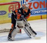 Kyle Keyser gets set in his crease after entering a Flint Firebirds home game in Saginaw.