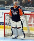 Kyle Keyser stands in his crease during a stop in play in a Flint Firebirds home game in Saginaw.