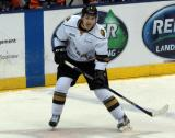 Matthew Tkachuk of the London Knights skates in the neutral zone during a game against the Flint Firebirds in Saginaw.