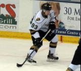 Mitch Marner of the London Knights looks for a rebound chance during a game against the Flint Firebirds in Saginaw.