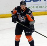 Stephan Seeger skates during a Flint Firebirds home game in Saginaw.