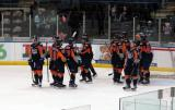 The Flint Firebirds come onto the ice following a loss to the London Knights in Saginaw.