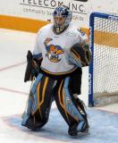 Jeff Lerg of the Toledo Walleye stands in his crease during a game against the Kalamazoo Wings.