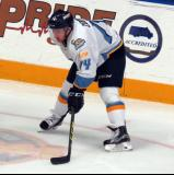 Dominic Zombo of the Toledo Walleye prepares for a faceoff during a game against the Kalamazoo Wings.