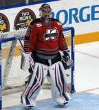 Joel Martin stands in his crease during a stoppage in a Kalamazoo Wings game.