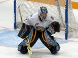 Jeff Lerg of the Toledo Walleye gets set in his crease during a faceoff in a game against the Kalamazoo Wings.
