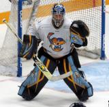 Jeff Lerg of the Toledo Walleye gets set in his crease on a faceoff during a game against the Kalamazoo Wings.