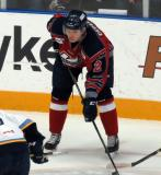 Anton Cederholm gets set for a faceoff during a Kalamazoo Wings game.