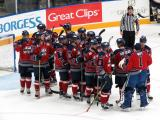 The Kalamazoo Wings come onto the ice to celebrate a win over the Toledo Walleye.