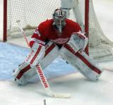 Petr Mrazek gets set in his crease on a faceoff.