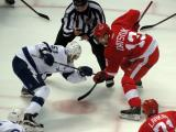 Pavel Datsyuk takes a faceoff against Valtteri Filppula of the Tampa Bay Lightning.