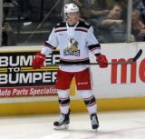 Evgeny Svechnikov skates near the boards during a stop in play in a Grand Rapids Griffins game.