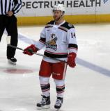 Nick Jensen waits for a faceoff during a Grand Rapids Griffins game.