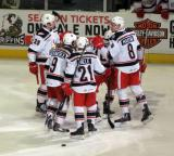 Evgeny Svechnikov, Mark Zengerle, Andy Miele, Anthony Mantha, and Xavier Ouellet of celebrate Ouellet's goal in the second period of a Grand Rapids Griffins game.
