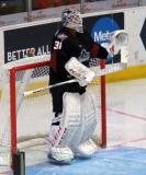 Anton Forsberg of the Lake Erie Monsters takes over in net during a game against the Grand Rapids Griffins.