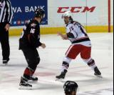 Mitch Callahan and Kerby Rychel of the Lake Erie Monsters perpare for a fight in a Grand Rapids Griffins game.