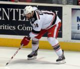 Jeff Hoggan lines up for a faceoff during a Grand Rapids Griffins game.