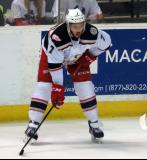 Ryan Sproul gets set for a faceoff during a Grand Rapids Griffins game.