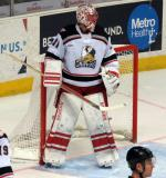 Jared Coreau stands in his crease during a Grand Rapids Griffins game.