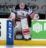 Jared Coreau leads the Grand Rapids Griffins onto the ice for the start of overtime.