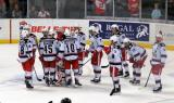 The Grand Rapids Griffins gather near their goal following their elimination from the Calder Cup Playoffs.