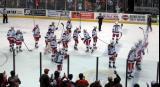The Grand Rapids Griffins salute their fans after their elimination from the Calder Cup Playoffs.