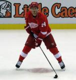 Gustav Nyquist skates in the neutral zone during pre-game warmups before a preseason game.