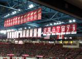 The banners for the Red Wings' old League Championships, Stanley Cup Championships, and retired numbers.