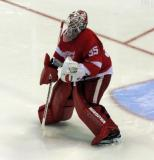 Jimmy Howard comes out to the top of his crease at the start of the second period of a preseason game.