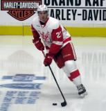 Dominic Turgeon skates with the puck during pre-game warmups before a Grand Rapids Griffins game.