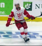 Dylan Sadowy turns in the neutral zone during pre-game warmups before a Grand Rapids Griffins game.
