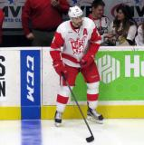 Brian Lashoff stands at the bench during pre-game warmups before a Grand Rapids Griffins game.