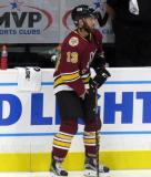 Landon Ferraro of the Chicago Wolves stands near the bench during pre-game warmups before a game against the Grand Rapids Griffins.