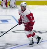 Joe Hicketts skates in the neutral zone during pre-game warmups before a Grand Rapids Griffins game.