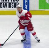 Joe Hicketts skates across the blue line during pre-game warmups before a Grand Rapids Griffins game.