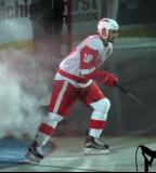 Brian Lashoff skates onto the ice during player introductions at the Grand Rapids Griffins' home opener.