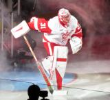 Jared Coreau skates onto the ice during player introductions at the Grand Rapids Griffins' home opener.