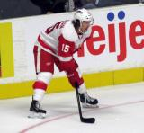 Mitch Callahan gets set for a faceoff during a Grand Rapids Griffins game.