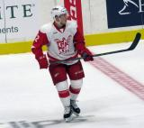 Joe Hicketts skates in the neutral zone during a stop in play in a Grand Rapids Griffins game.