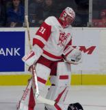 Jared Coreau skates out of his net during a stop in play in a Grand Rapids Griffins game.