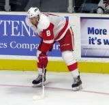 Anthony Mantha gets set for a faceoff during a Grand Rapids Griffins game.