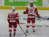 Matt Lorito and Brian Lashoff skate in the neutral zone prior to the opening faceoff of the third period of a Grand Rapids Griffins game.