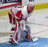 Jared Coreau gets set in his crease during a Grand Rapids Griffins game.